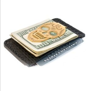 Accessories - BLACK SNAKE SKIN CARD HOLDER WITH GOLD MONEY CLIP